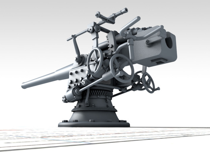 "1/144 German 8.8 cm/45 (3.46"") SK L/45 Guns x4 3d printed 3D render showing product detail"