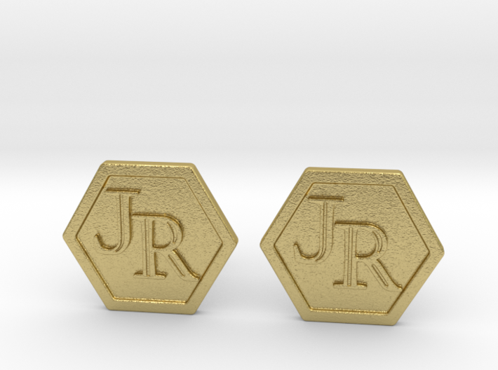 Monogram Cufflinks JR 3d printed