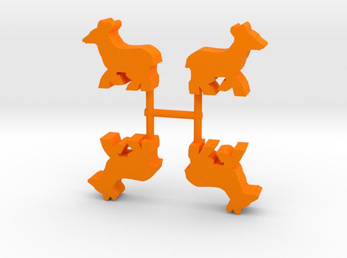 Deer Doe Meeple, running, 4-set 3d printed