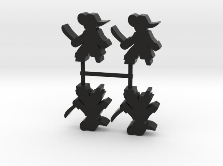 Pirate Captain Meeple, cutlass, peg leg, 4-set 3d printed