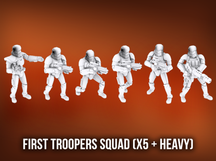First Troopers Squad A (x5 + Heavy) 3d printed