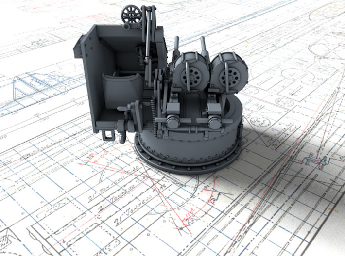 1/48 Twin 20mm Oerlikon Powered MKV Mount 3d printed 3d render showing product detail