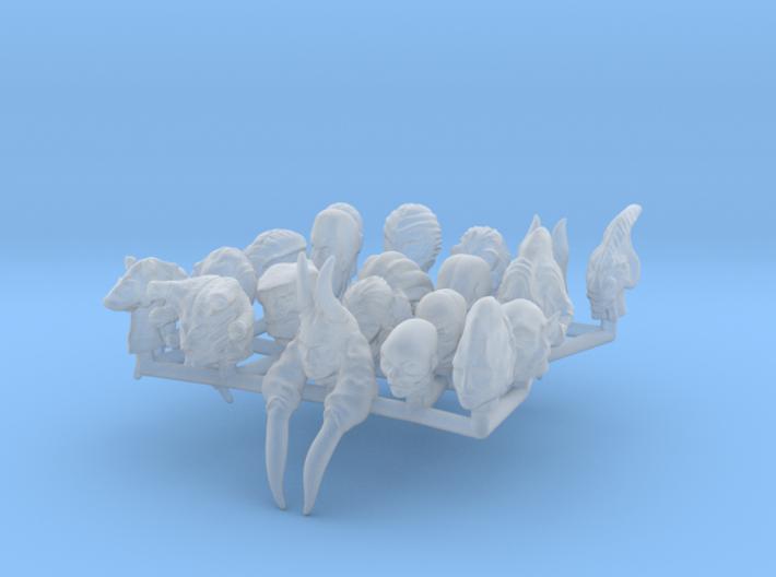 (Legion) Alien Heads Set III 3d printed