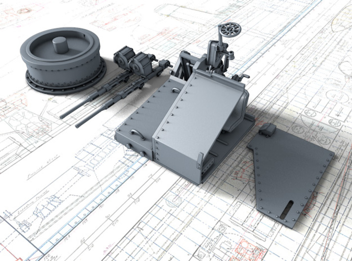 1/72 Twin 20mm Oerlikon MKV Mount Not in Use 3d printed 3d render showing product parts