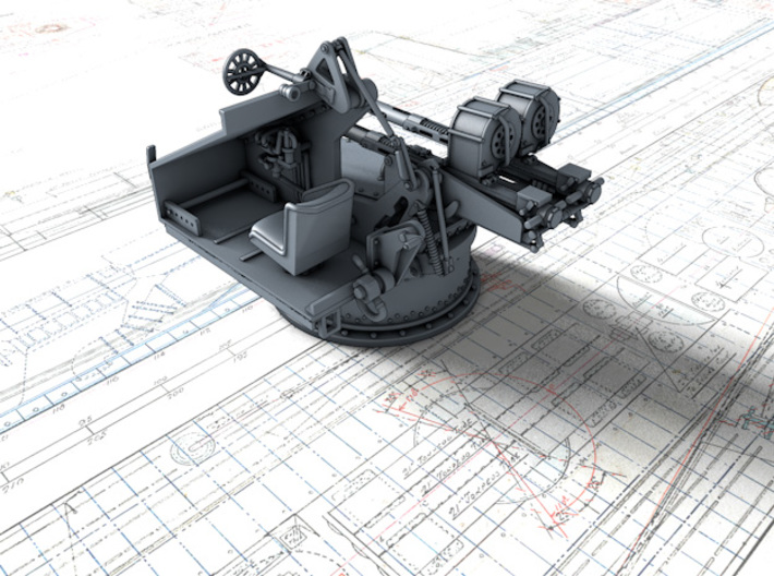 1/96 Twin 20mm Oerlikon Powered MKV Mount 3d printed 3d render showing interior detail (without side panel)