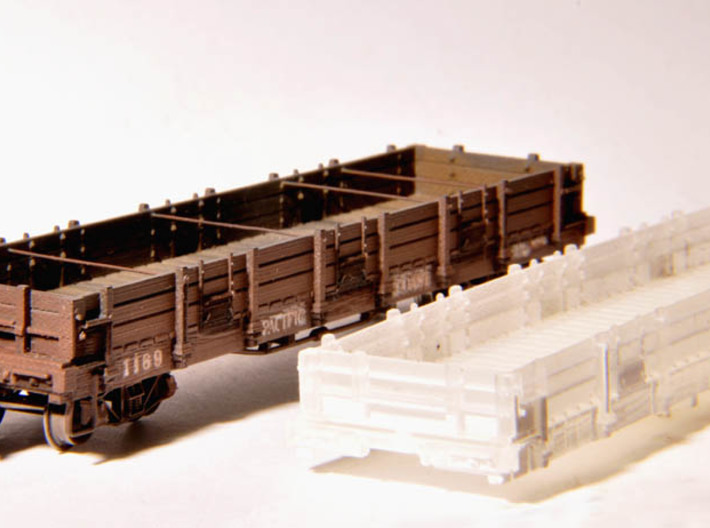 Pacific Coast Railway Gondola 1169 - TTn3 / TTn42 3d printed Finished model and raw plasrtic printed body. (Couplers, trucks, brake wheel, brass wire, decals not included)