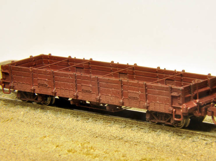 Pacific Coast Railway Nn3 Gondola Body 3d printed Finished model (trucks, couplers, brass wire, brake wheel, decals not included)