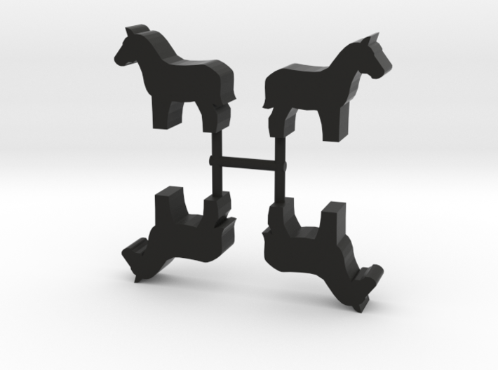 Horse Meeple, standing, 4-set 3d printed