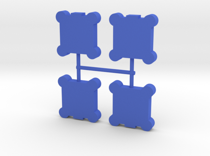 Square Walls Meeple, round towers, 4-set 3d printed