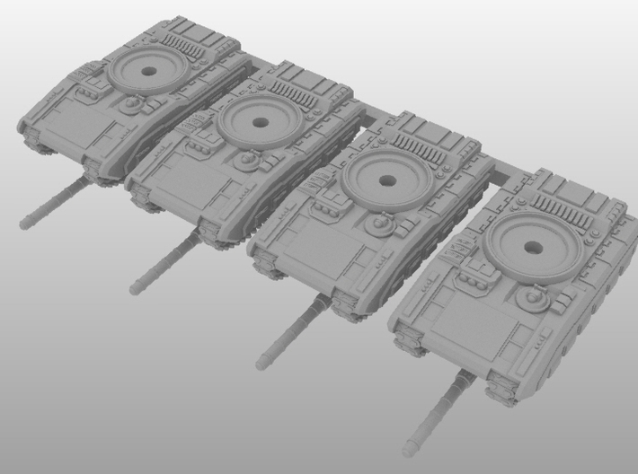6mm Merka 5 Platoon 3d printed 4-Tank Platoon of Merka 5 Armored Vehicles in 6mm Scale.
