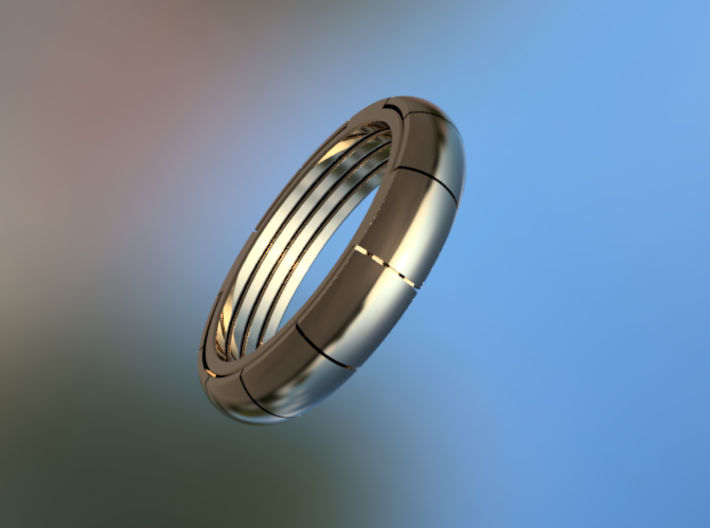 The Four Kings puzzle ring 3d printed The Four Kings ring Polished Steel