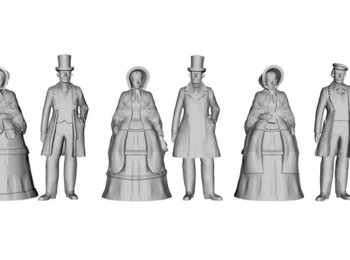 1/43 Scale Early Victorian Figures x 10 Standing 3d printed
