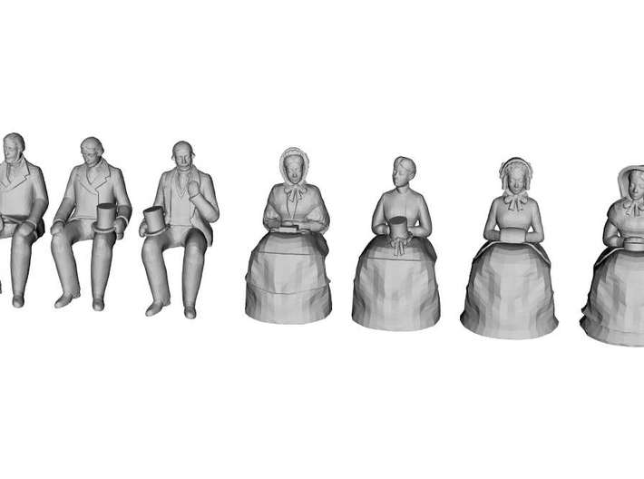 1/43 Scale Early Victorian Figures x 10 Seated 3d printed