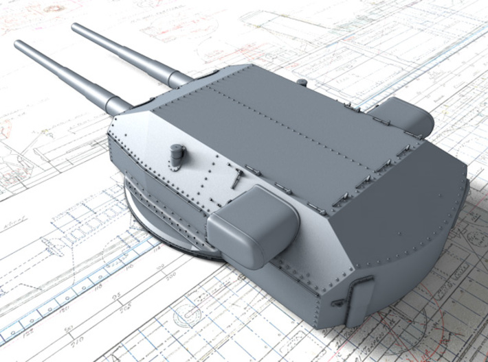 "1/350 H Class 40.6 cm/52 (16"") SK C/34 Guns 3d printed 3D render showing Anton and Dora Turret detail"