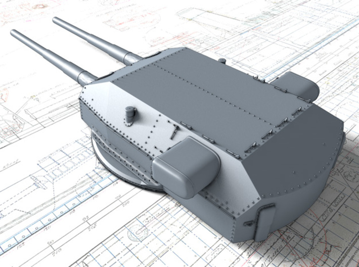 "1/200 H Class 40.6cm (16"") SK C/34 Guns Blast Bags 3d printed 3D render showing Anton and Dora Turret detail"