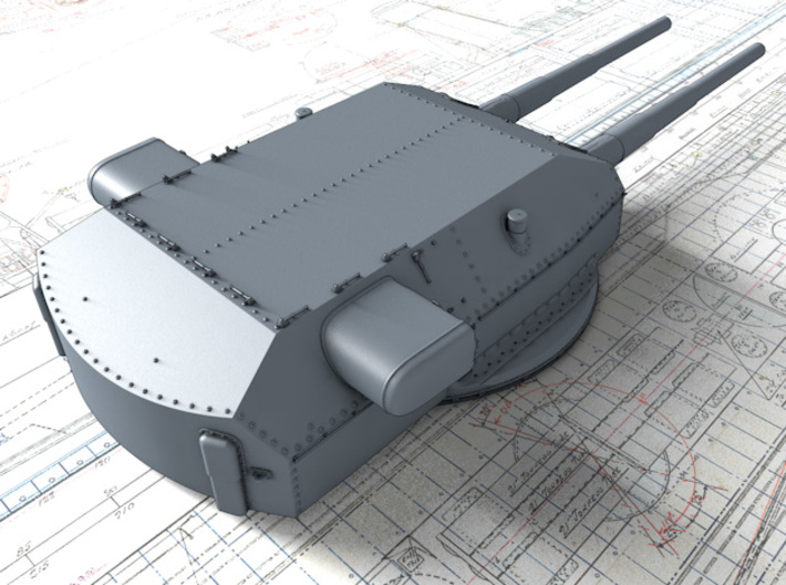 "1/400 H Class 40.6cm (16"") SK C/34 Guns Blast Bags 3d printed 3D render showing Anton and Dora Turret detail"