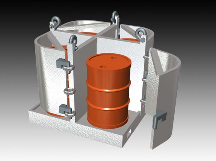 offshore drum rack 1:50 movable doors 3d printed