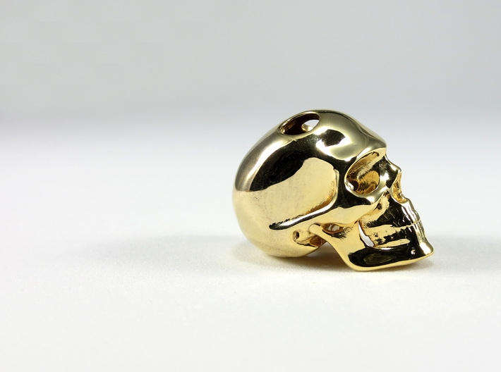Realistic Human Skull (20mm H) - Pendant 3d printed 20mm H Pendant in Gold Plated Brass