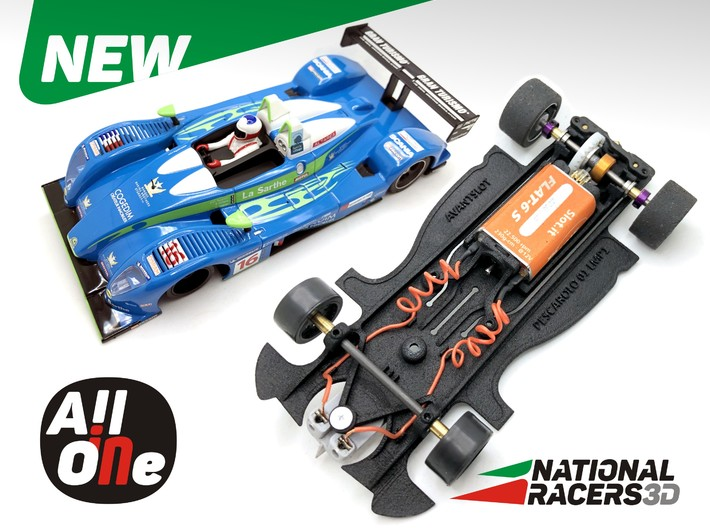 3D Chassis - AVANT SLOT Pescarolo 01 LMP1 (In-AiO) 3d printed Chassis compatible with Avant Slot model (slot car and other parts not included)