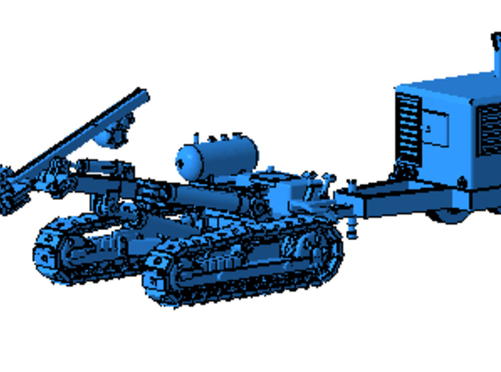 1/64th Ingersoll Rand type Tracked Rock Drill 3d printed As shown with AIr Compressor