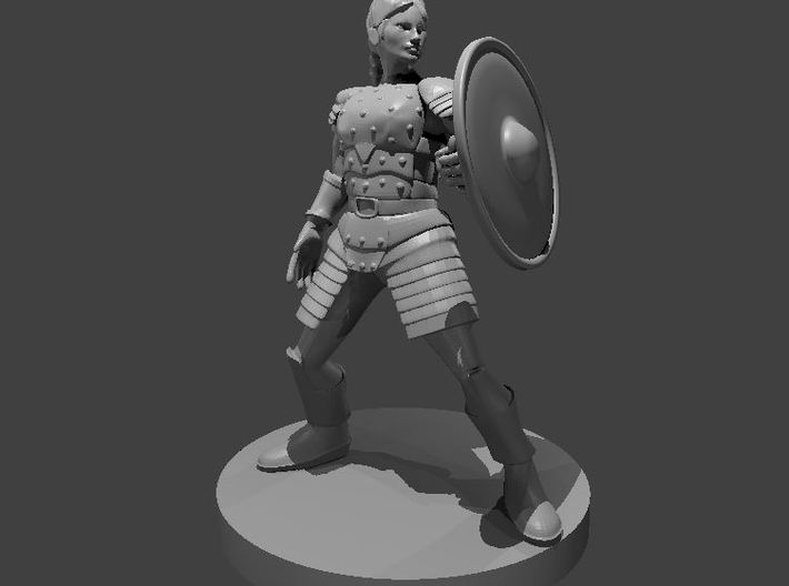Female Human Cleric Shield and Studded Leather 3d printed