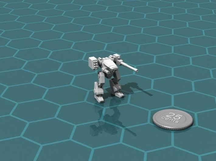 Terran Combat Walker (1-piece) 3d printed Render of the model, with a virtual quarter for scale.