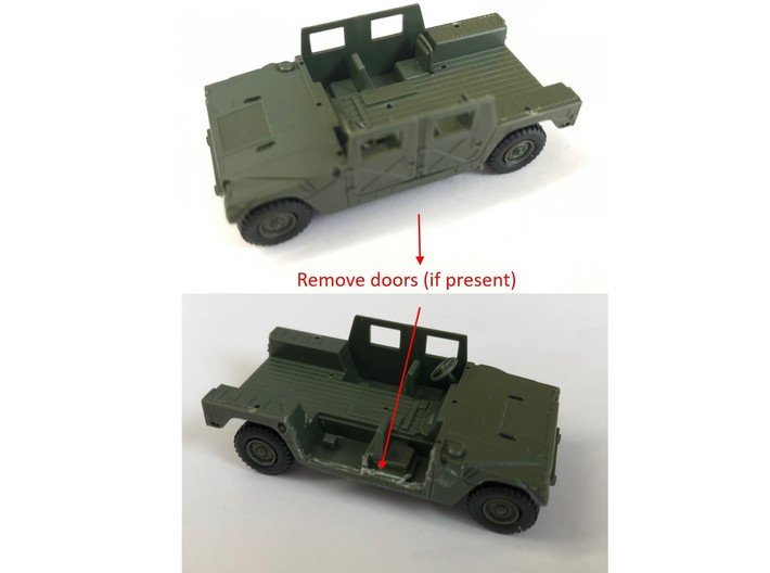 M1151 Humvee Armor w/ Gunner's Protection Kit 3d printed If molded into original model, cut away doors as shown