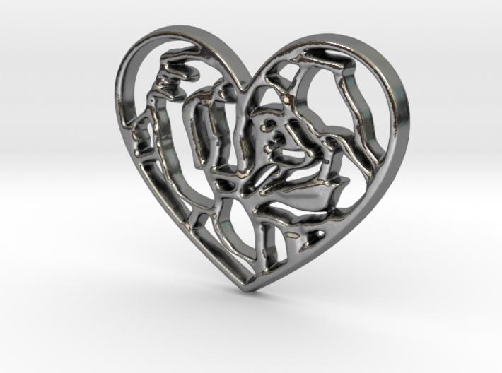 Rose in Heart Pendant 3d printed