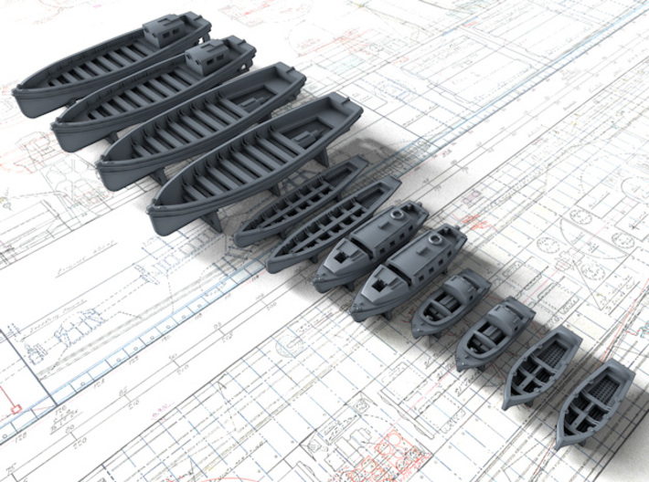 1/600 WW2 Royal Navy Boat Set 2 with Mounts 3d printed 1/600 WW2 Royal Navy Boat Set 2 with Mounts