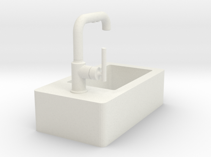 Tiny sink with faucet 3d printed