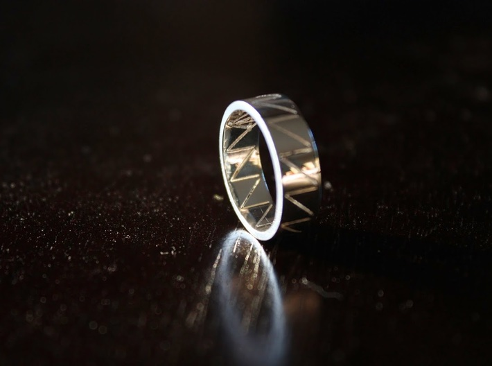 Visionary Crazy V Ring By Kris Kitchen Ring Size 3d printed Visionary Ring In Premium Silver