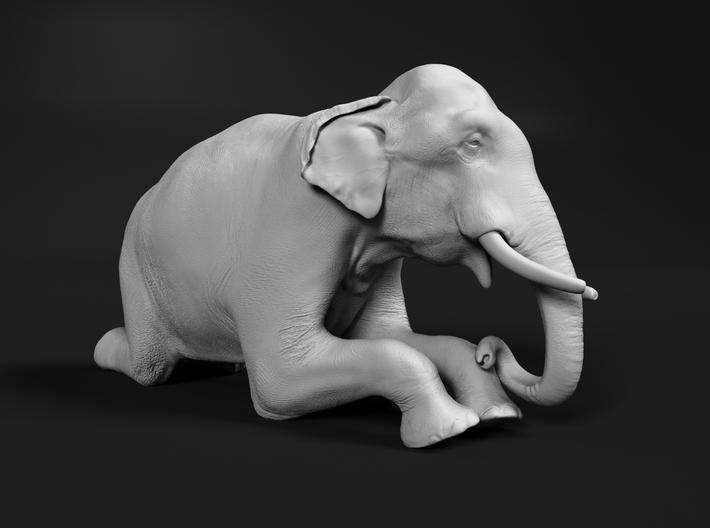 Indian Elephant 1:12 Kneeling Male 3d printed