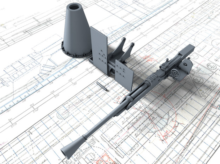1/48 QF 2-pounder MK XIV Rolls Royce Gun x1 3d printed 3d render showing parts in set