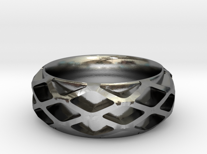 Diamond Filigree Band 3d printed