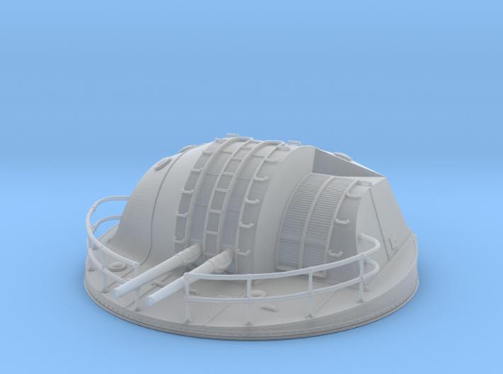 "1/100 IJN 12.7 cm/40 (5"") twin mounts enclosed 3d printed"