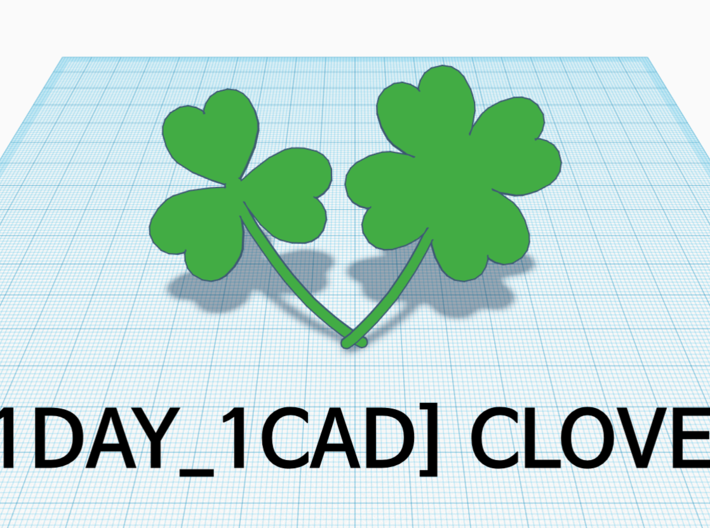 [1DAY_1CAD] 3 LEAVES CLOVER 3d printed