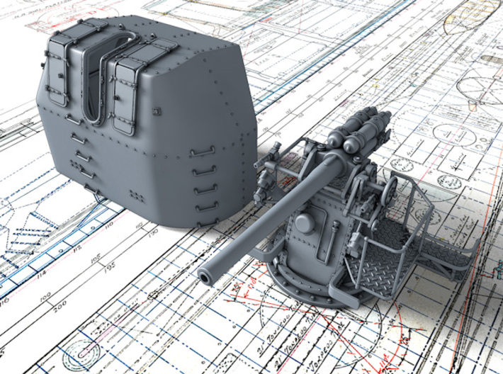 "1/56 RN 4"" MKV P Class Gun A/Y Mount Closed Ports 3d printed 3d render showing product detail"