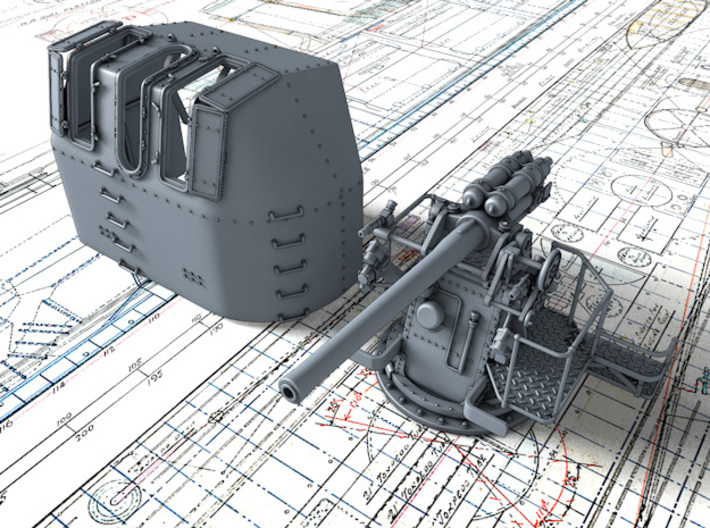 "1/56 RN 4"" MKV P Class Gun (A or Y Mount) x1 3d printed 3d render showing product detail"