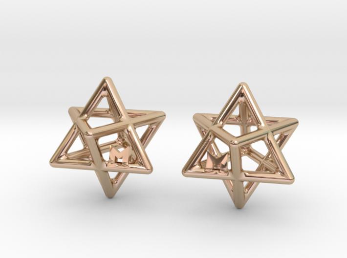 MILOSAURUS Tetrahedral 3D Star of David Earrings 3d printed