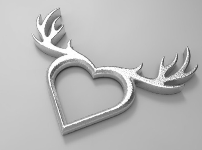 Deer Heart Gold and Silver 3d printed