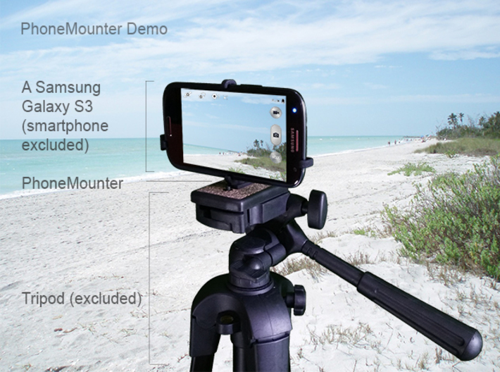 Motorola One Vision tripod & stabilizer mount 3d printed A demo Samsung Galaxy S3 mounted on a tripod with PhoneMounter