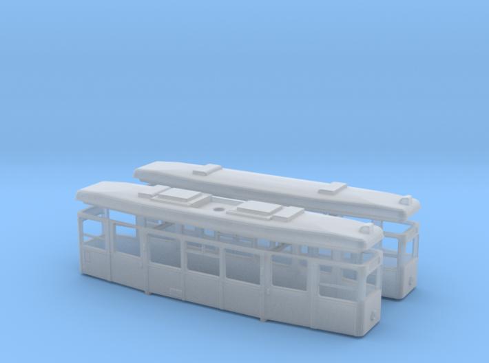 1:220 Straßenbahn Tw721 und Beiwagen Gehäuse mit D 3d printed