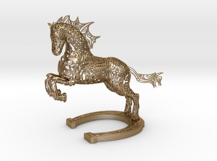 Rocinante Horse Sculpture 3d printed Rocinante Horse Sculpture in Polished Gold Steel