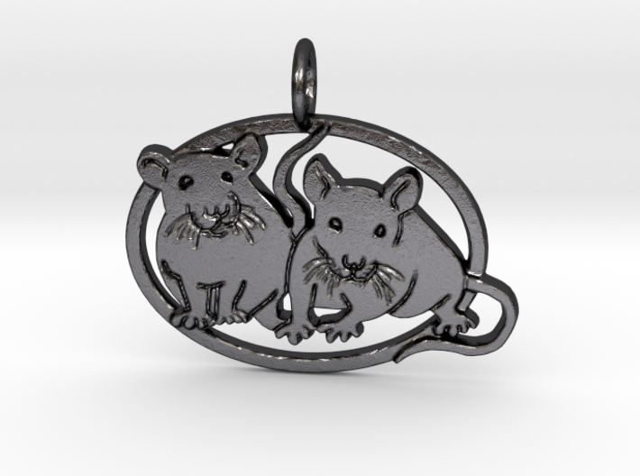 Double rat pendant oval cameo 3d printed