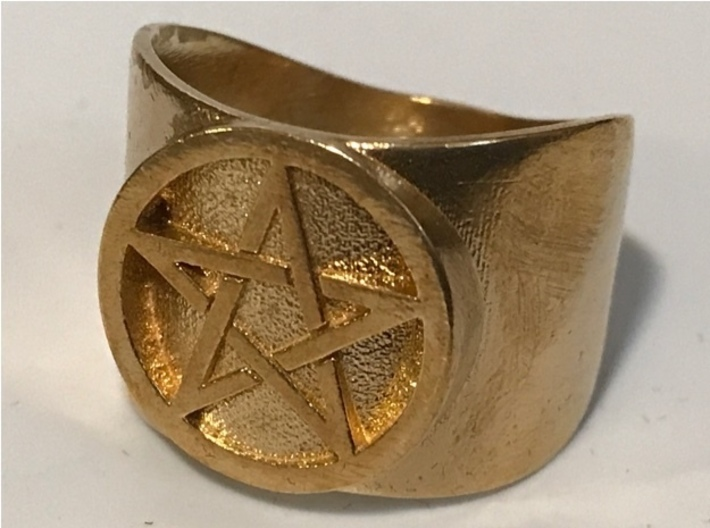 Pentacle Ring - thick 3d printed Thick pentacle ring in natural brass
