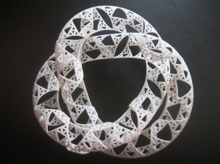Trefoil Knot with Sierpinski Triangles 3d printed