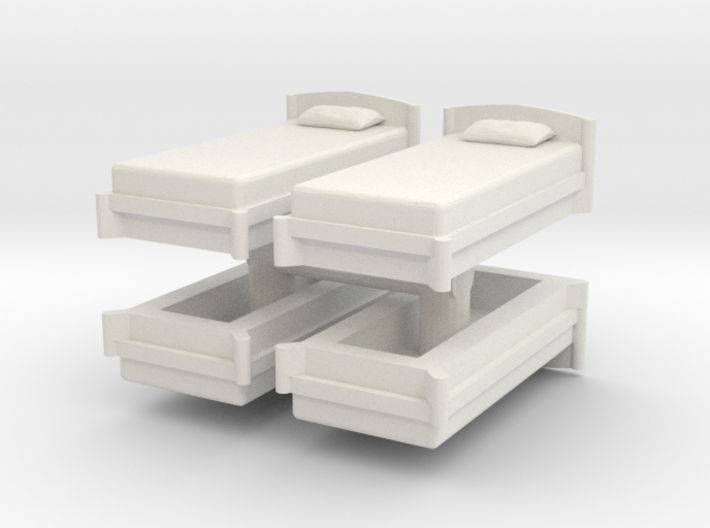 Single Bed (x4) 1/76 3d printed