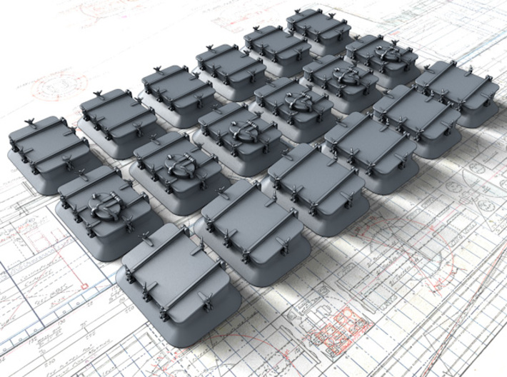 1/56 Royal Navy Deck Hatch Set w. Blast Plates x18 3d printed 1/56 Royal Navy Deck Hatch Set w. Blast Plates x18