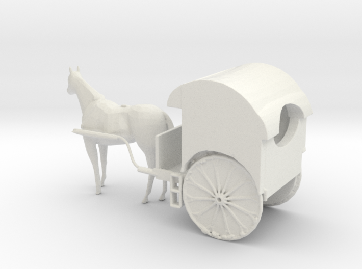 S Scale Horse Drawn Two Wheel Buggy 3d printed This is a render not a picture