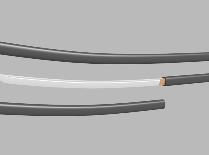 Katana - 1:12 scale - Curved blade - Plain 3d printed